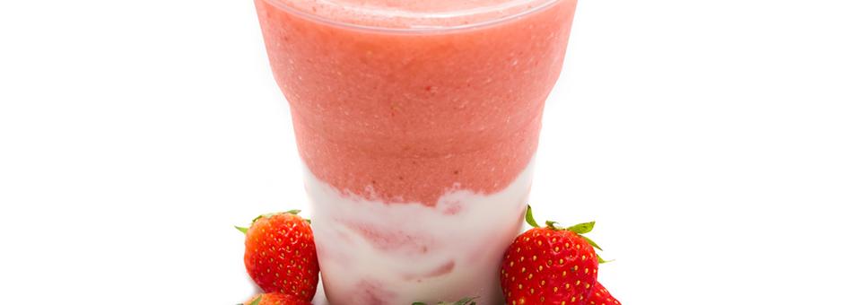 Horchata sobre granizado de fresas
